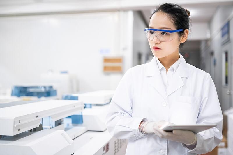 Woman in labcoat
